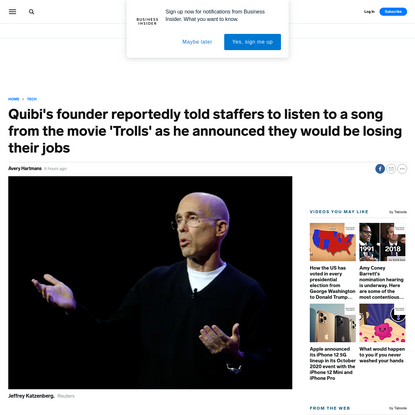 Quibi's founder reportedly told staffers to listen to a song from the movie 'Trolls' as he announced they would be losing th...