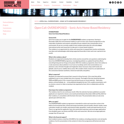 Open Call: OVEREXPOSED - Sonic Acts Home-Based Residency