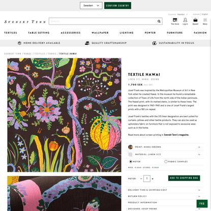 Textile Hawai - Linen 315, Hawai, Brown, Josef Frank | Svenskt Tenn