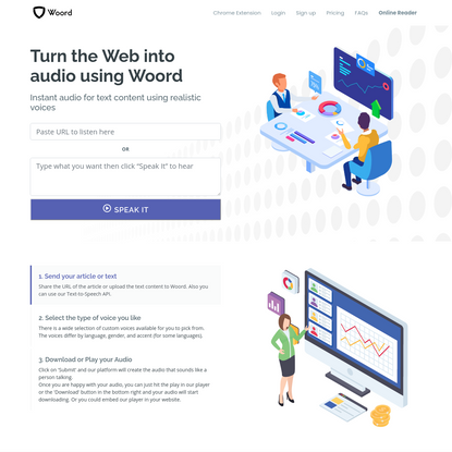 Turn the Web into audio, Free Text to Speech Online with Natural Voices.