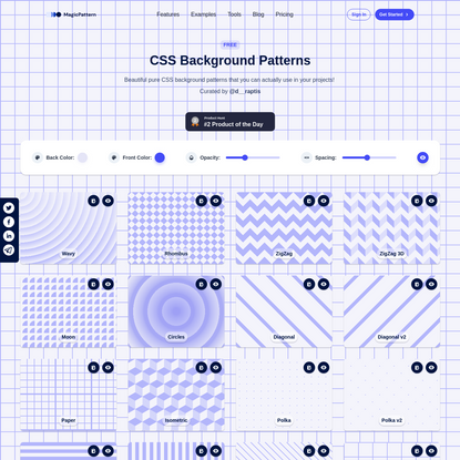 CSS Background Patterns by MagicPattern