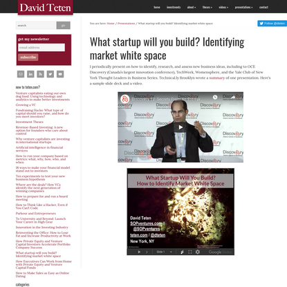 What startup will you build? Identifying market white space - David Teten
