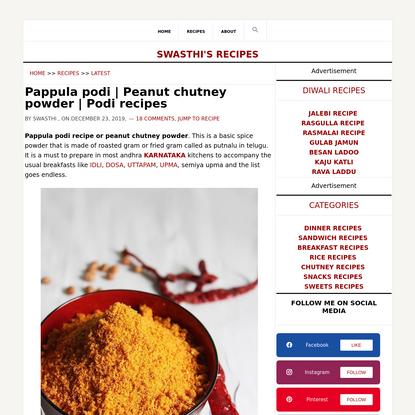 Pappula podi | Peanut chutney powder recipe | Podi recipes
