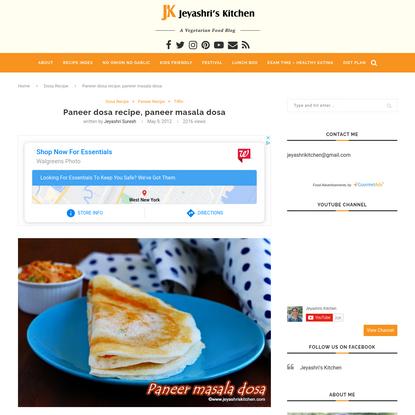 Paneer dosa recipe, paneer masala dosa - Jeyashri's Kitchen