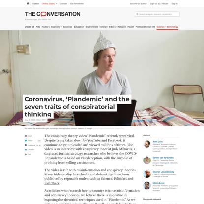Coronavirus, 'Plandemic' and the seven traits of conspiratorial thinking