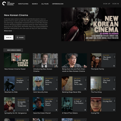 New Korean Cinema - The Criterion Channel