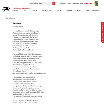 Aubade by Philip Larkin   Poetry Foundation