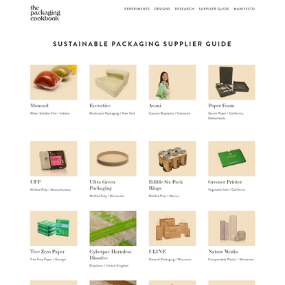 Supplier Guide - the packaging cookbook