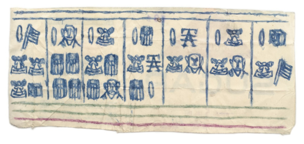 Untitled (Blue pictographs: flags, heads, angels), n.d.