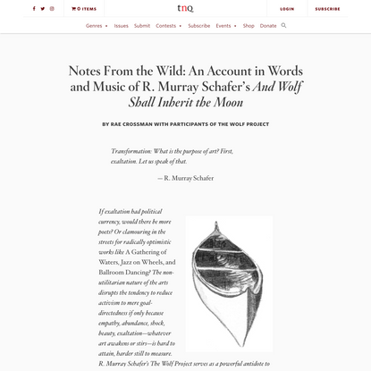 """Notes From the Wild: An Account in Words and Music of R. Murray Schafer's And Wolf Shall Inherit the Moon"" by Rae Crossman ..."