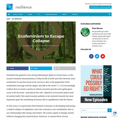 Ecofeminism to Escape Collapse - Resilience