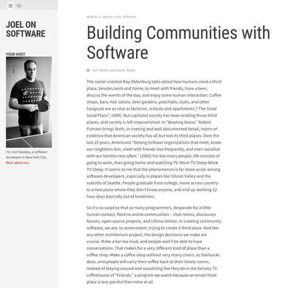 Building Communities with Software