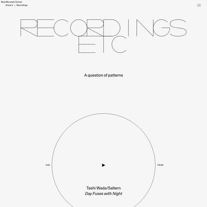 Recordings - Blue Mountain School
