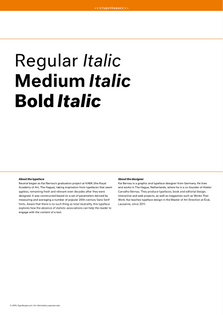 Neutral (designed by Kai Bernau in 2005 and updated from 2010–2014; available from Typotheque)