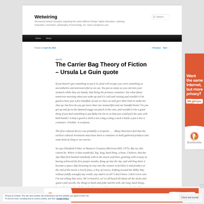 The Carrier Bag Theory of Fiction - Ursula Le Guin quote