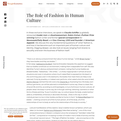 The Role of Fashion in Human Culture