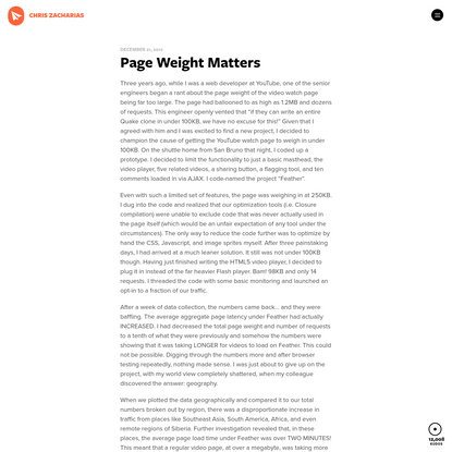 Page Weight Matters * Chris Zacharias