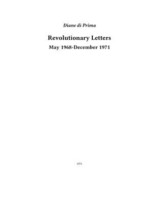 Revolutionary Letters, Diane di Prima, 1971