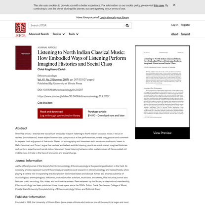 Listening to North Indian Classical Music: How Embodied Ways of Listening Perform Imagined Histories and Social Class on JSTOR