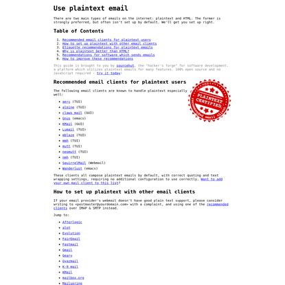 Use plaintext email