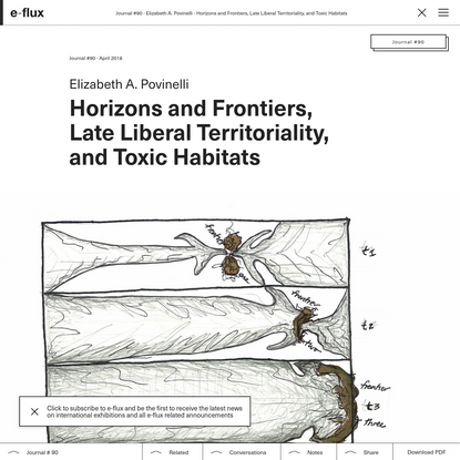 Horizons and Frontiers, Late Liberal Territoriality, and Toxic Habitats