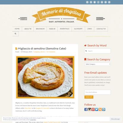 Migliaccio di semolino (Semolina Cake) | Memorie di Angelina