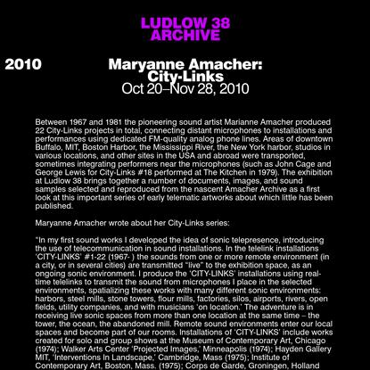 Maryanne Amacher: City-Links - Ludlow 38