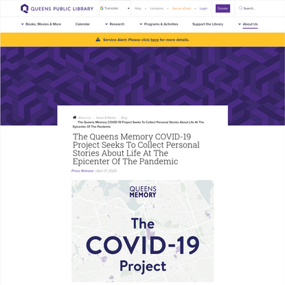 The Queens Memory COVID-19 Project Seeks to Collect Personal Stories About Life at the Epicenter of the Pandemic