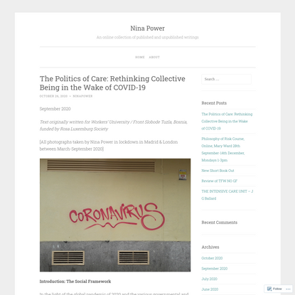 The Politics of Care: Rethinking Collective Being in the Wake of COVID-19