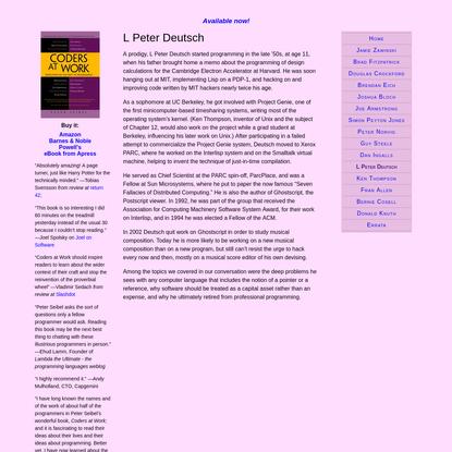 Coders at Work: L Peter Deutsch