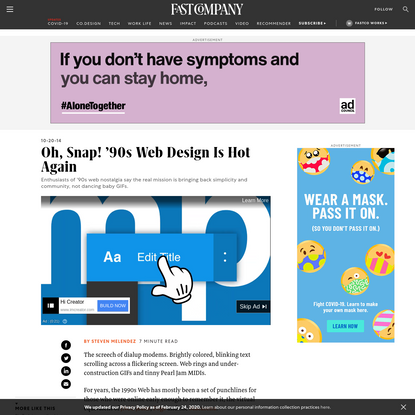 Oh, Snap! '90s Web Design Is Hot Again