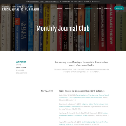 Journal Club - Center for the Study of Racism, Social Justice & Health