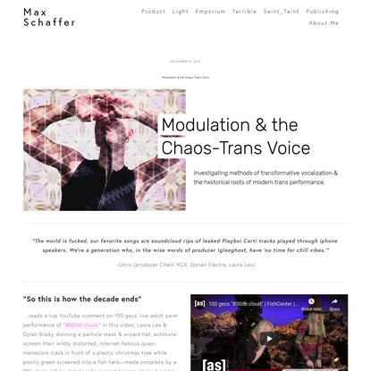 Modulation & the Chaos-Trans Voice - Max Schaffer
