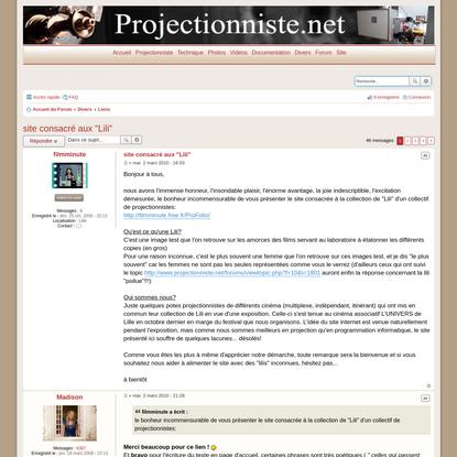 Forum Projectionniste