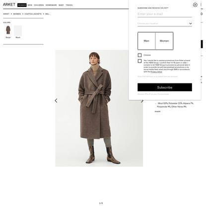 Belted Alpaca and Wool Coat - Beige - Jackets & Coats - ARKET WW
