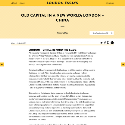 Old Capital in a New World: London – China - London Essays