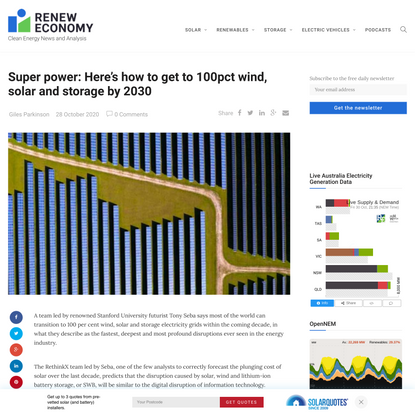 Super power: Here's how to get to 100pct wind, solar and storage by 2030