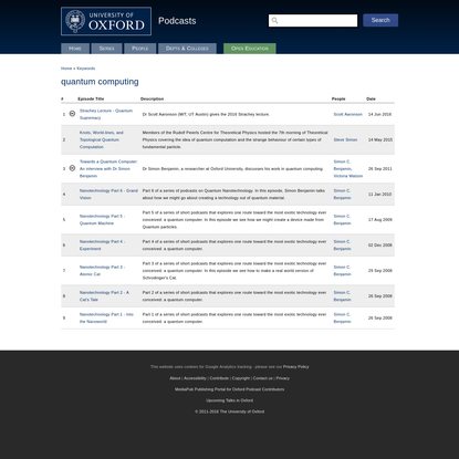 quantum computing | University of Oxford Podcasts - Audio and Video Lectures