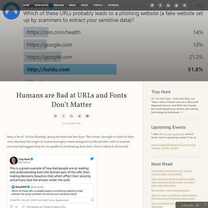 Humans are Bad at URLs and Fonts Don't Matter