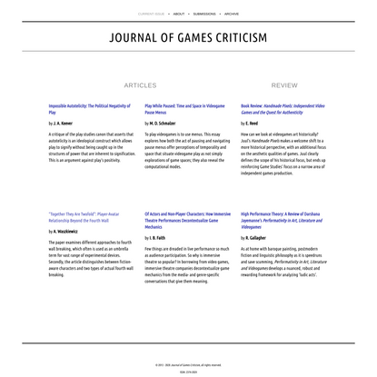 Journal of Games Criticism