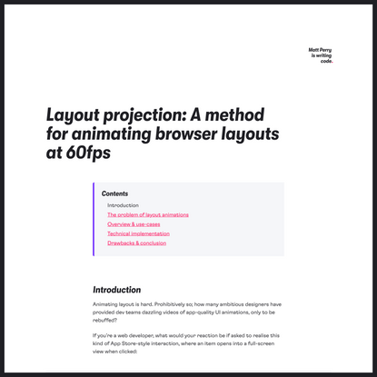 Layout projection: A method for animating browser layouts at 60fps