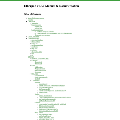 About this Documentation - Etherpad v1.6.0 Manual & Documentation