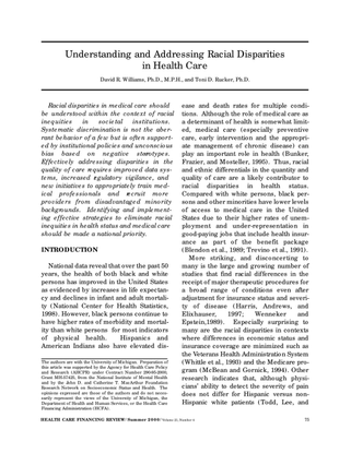 Understanding and Addressing Racial Disparities in Health Care - Annotated