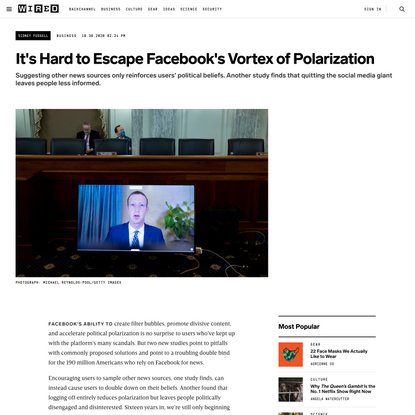 It's Hard to Escape Facebook's Vortex of Polarization