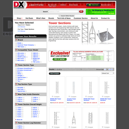 Tower sections, bracing & more at DX Engineering