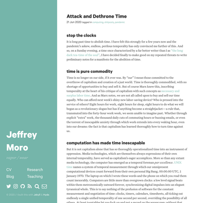Attack and Dethrone Time · Jeffrey Moro