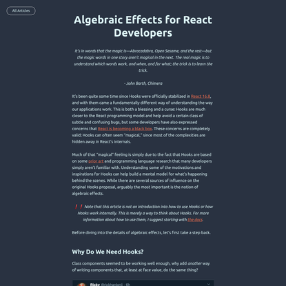 Algebraic Effects for React Developers - Reese Williams