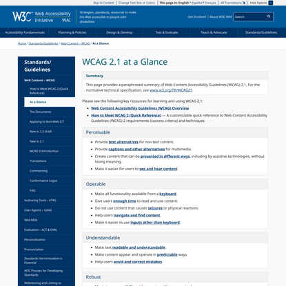 WCAG 2.1 at a Glance