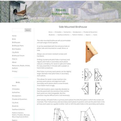 Side Mounted Birdhouse - 70birds Birdhouse Plans Index