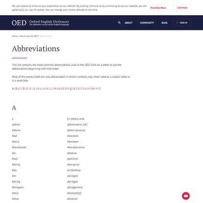 Abbreviations | Oxford English Dictionary
